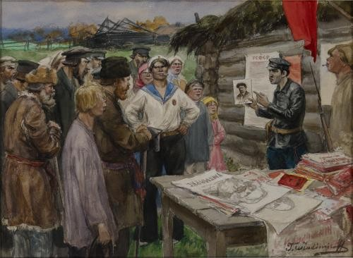 Ivan Vladimirov watercolor of Russian peasants learning about Communism