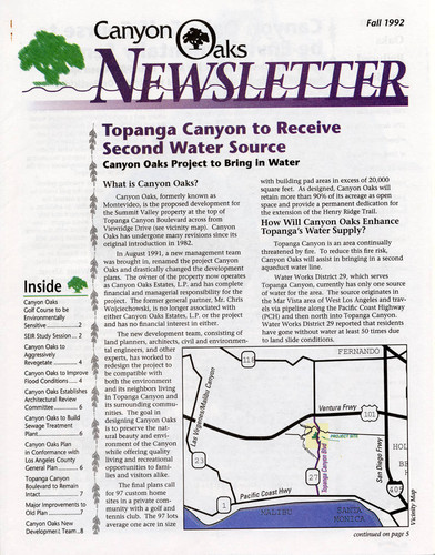 Canyon Oaks Newsletter, Fall 1992