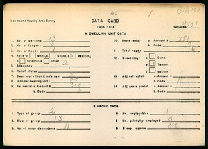 WPA Low income housing area survey data card 46, serial 9521