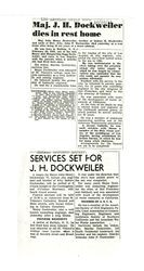 Newspaper clippings about John Henry Dockweiler and his funeral service, December 22, 1941