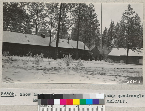 Snow in the Las Posadas Civilian Conservation Corps camp quadrangle. March 1935. Metcalf