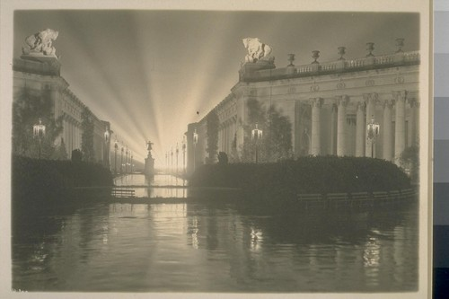 "H100. [Court of Four Seasons (Henry Bacon, architect), illuminated by scintillator. ""Fountain of Ceres"" in distance.]"