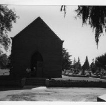 Exterior view of the Sacramento City Cemetery Mortuary Chapel and Archives Office on the grounds of the cemetery