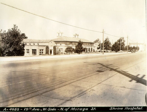 [Shrine Hospital on west side of 19th Avenue, north of Moraga Street]