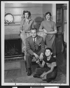 University of Southern California football coach Jess Hill with his family at home, San Gabriel, California, 1951