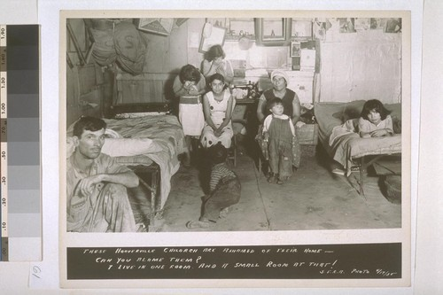 These Hooverville children are ashamed of their home - can you blame them? 7 live in one room, and a small room at that! S.E.R.A. Photo, 4/17/35