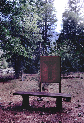 View of Shims Flat Indian Cemetery--Name marker with names of people buried in cemetery (slide)