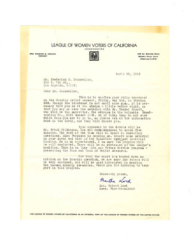 Letter from Martha Lord to Frederick C. Dockweiler, April 29, 1952