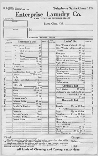 Calisphere: Enterprise Laundry Price List, Ca. 1910