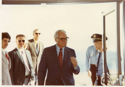 Senator Barry Goldwater about to enter a campus building