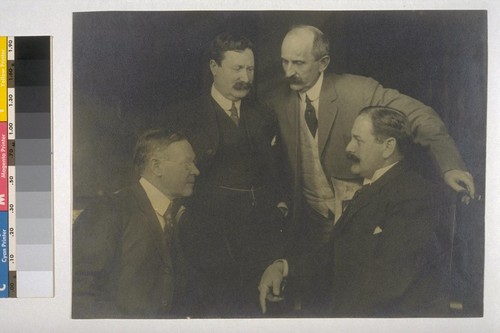 "The ""Big Four"" graft prosecutors (left to right) Frances J. Heney, William J. Burns, Fremont Older and Rudolph Spreckels. [With duplicate print captioned: ""Heney, Burns, Older, R. Spreckels.""]"