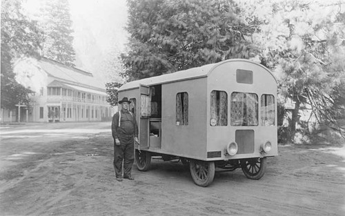 Handcrafted motor home in Yosemite, 1921
