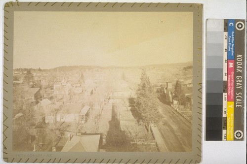 [View of Grass Valley. Mounted print; apparently back cover of original album. Fabric cover stitched to verso of mount.]