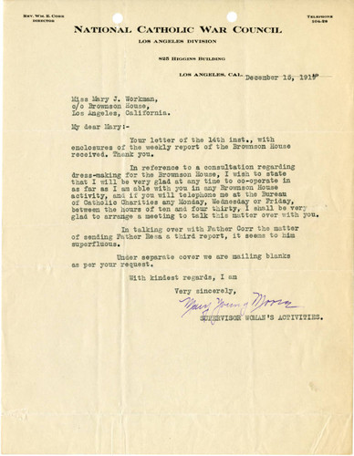 [Mary Young Moore letter to Mary J. Workman, 1919 December 15]