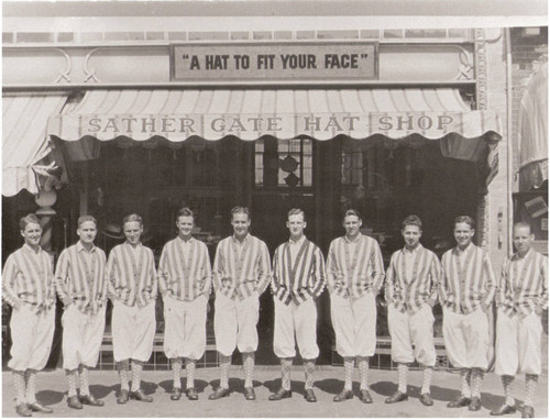 Hal Parrish's Rio Nido Band members standing in front of the Sather Gate Hat Shop in Berkeley, California, circa 1915