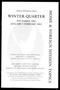 Home & foreign missions topics, vol. 38, no. 1 (2002 Winter)