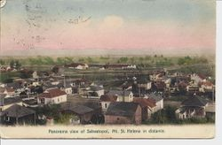 Panorama view of Sebastopol, California with Mount Saint Helena in the distance, postmarked May 5, 1914 from Sebastopol