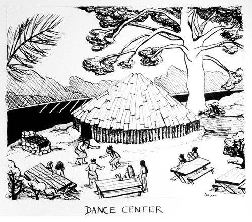 Illustration of round house with caption underneath which reads: Dance Center