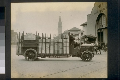 May 3, 1919. [D. Ghirardelli Company truck at pier 16. Ferry Building in background.]
