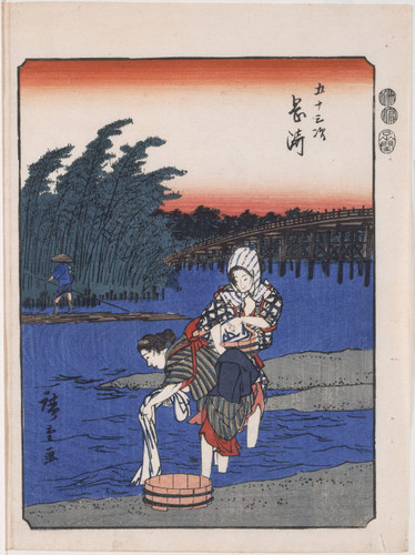 Women washing cloth in Toya River near Okazaki, number 39 from the Fifty-three Stations (Jimbutsu Tokaido)