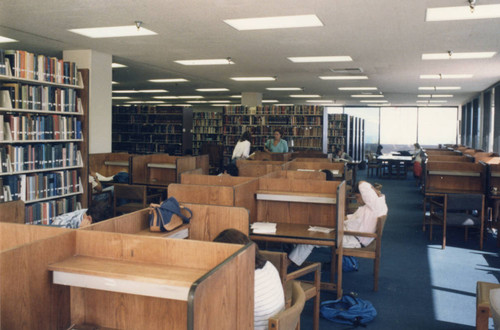Students at work in study carrels (Color)