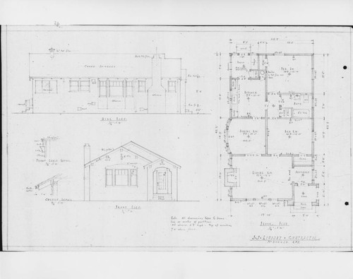 Architectural drawings for an unidentified Santa Rosa bungalow prepared by J. J. Lindsay, general contractor, ca. 1921