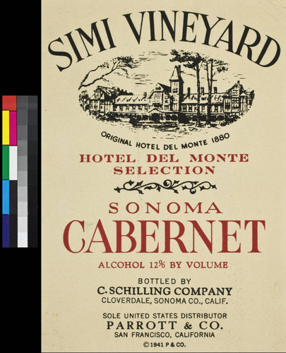 Simi Vineyard Hotel Del Monte Selection Sonoma cabernet : alcohol 12% by volume