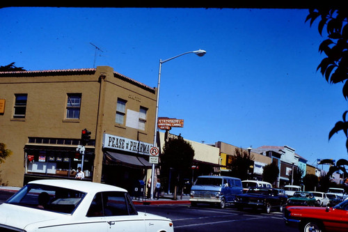 Downtown Sebastopol looking north on North Main and Highway 12 in 1976
