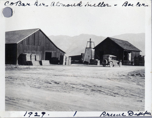 The Barker prune dipper and almond hulling warehouses in Banning, California