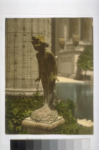 """Wild Flower"" (Edward Berge, sculptor), garden exhibit, South Peristyle (Curved Colonnade), Palace of Fine Arts (Bernard R. Maybeck, architect). Hand-colored"