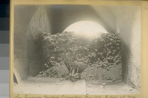 San Francisco Garbage Crematory, May 1906. Debris at base of chimney inside; due to destruction of upper 60 feet by the earthquake