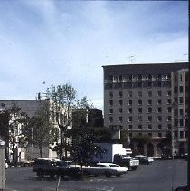 Demolition site at K and L, 12th and 13th Streets for the new Hyatt Hotel in 1984. A State of California building and a public parking lot occupied the site