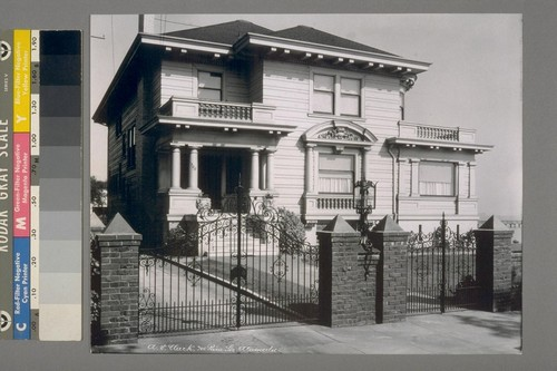 A.V. Clark [residence]. 700 [Parn?] Str., Alameda. [With iron gates and lamp post.] [Duplicate of 31.]