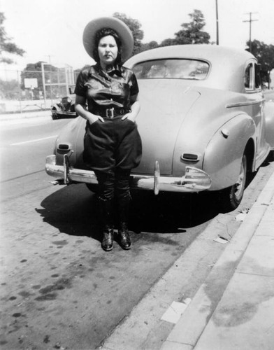 Woman and her automobile