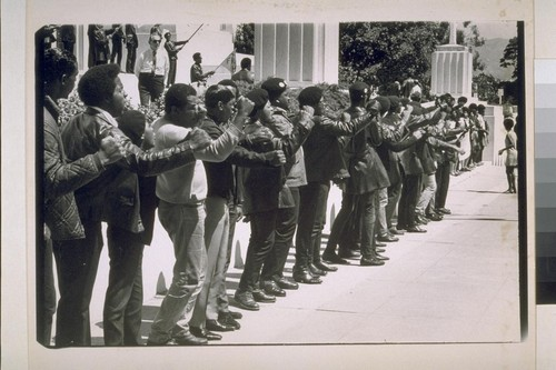 Huey Newton trial, second day July 16,1968 (Two photos)