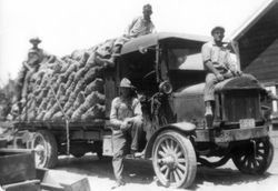Sacks of apples stacked on the flat bed of a truck with four men on the Garbo Orchard, about mid 1910s