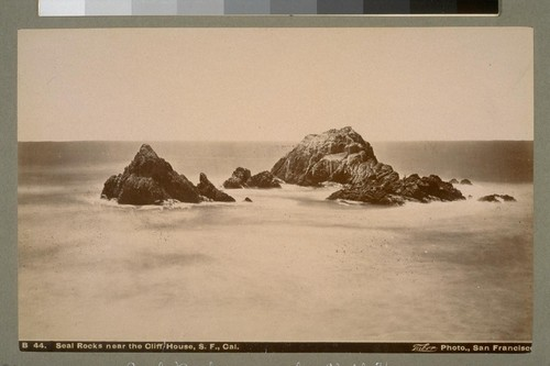 Seal Rocks near the Cliff House, S.F. [San Francisco], Cal. B 44. [Photograph by Isaiah West Taber.]