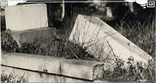 [Overturned gravestones at Laurel Hill Cemetery]
