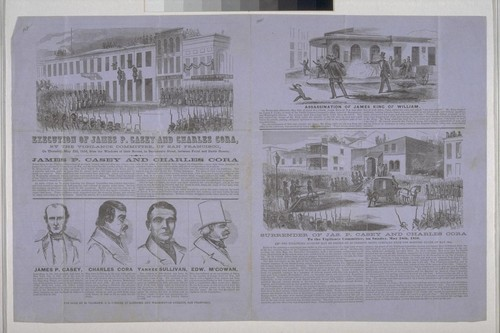 Execution of James P. Casey and Charles Cora, By The Vigilance Committee, of San Francisco, on Thursday, May 22d, 1856, from the Windows of their Rooms, in Sacramento Street, between Front and Davis Streets