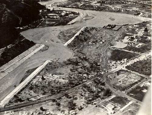 Los Angeles River - flood of 1938 aerial view above Victory Blvd