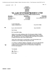 [Letter from M Clarke to Norman Jack regarding current bill of lading]