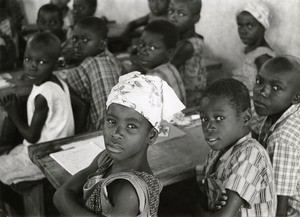 Pupils of the protestant secondary school, in Lambarene, Gabon