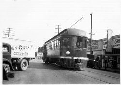 P&SR railway car heading south on Main Street, Sebastopol in 1931