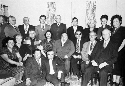 Herb Young (in dark glasses) among Delegates of Indians of California Conference in San Francisco, January 1952