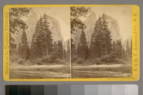 Cathedral Rocks, 2670 ft. high.--Photographer: E. & H. T. Anthony & Co.--Photographer's Number: 43--Place of Publication: New York.--Photographer's Series: Glories of the Yosemite, California
