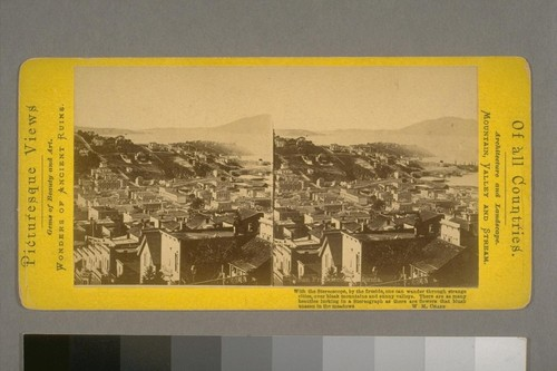 San Francisco, California. North Beach, Bay, and Golden Gate. About 1867. From Telegraph Hill