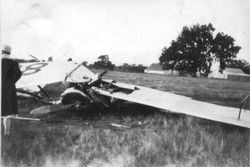 Airplane crash at Cenopius Field, late 1920s