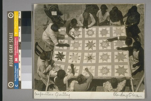 Cooperative quilting. On verso: Quilting by members of a colored cooperative unit, Los Angeles