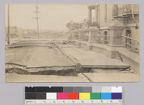 [Fissures in street near Roman Catholic Orphanage Youth's Directory, near Nineteenth and Guerrero Sts.]