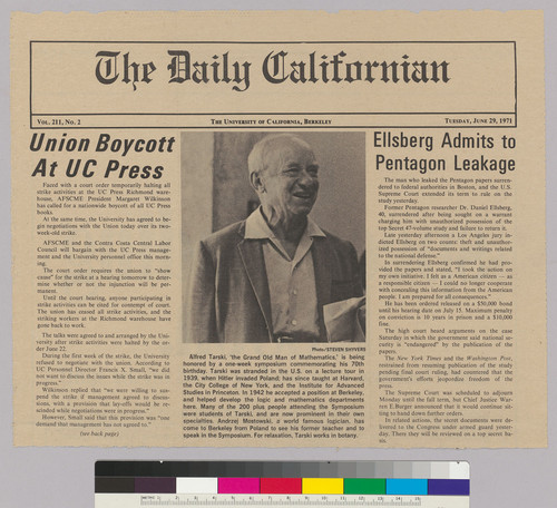 Newsclipping with photograph of Alfred Tarski, from The Daily Californian